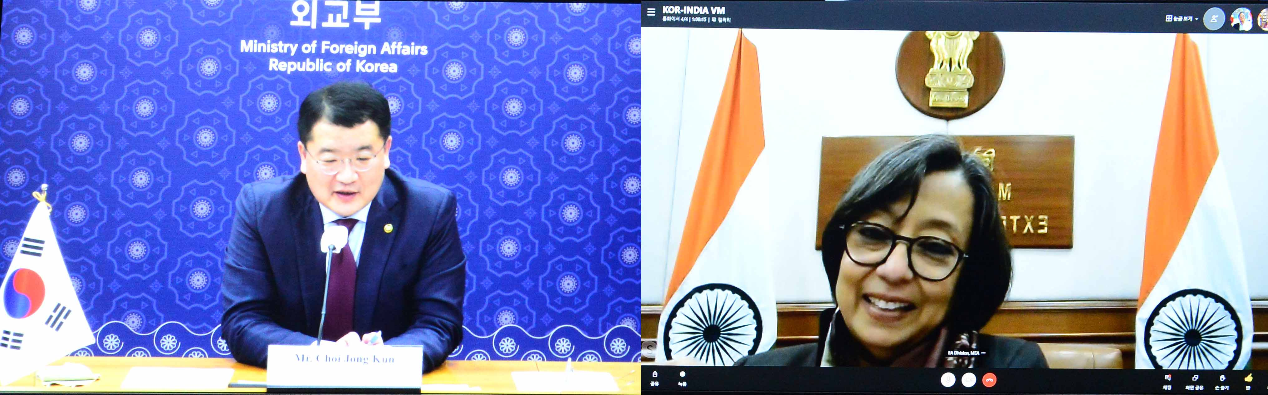 Vice Minister of Foreign Affairs Choi Holds Video Conference with his Indian Counterpart